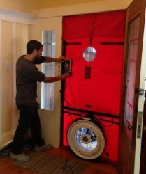 During a home energy audit, Kevel uses a blower door test to measure air infiltration in your Bay Area home.
